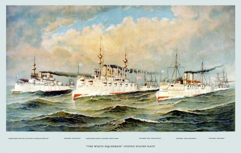 Fine art print of the White Squadron of US Navy